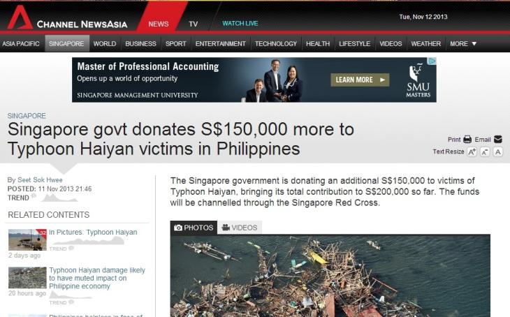 Singapore donates to Philippines